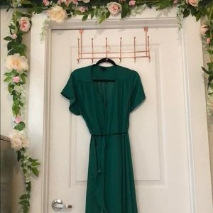 Green Wrap Dress with Ruffles